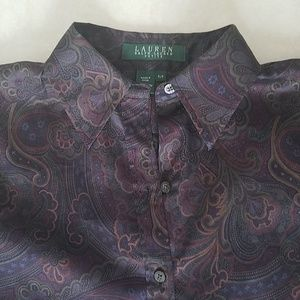 Ralph Lauren Petite Paisley Buttondown Small